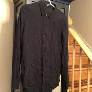 Theory black rayon collared button down